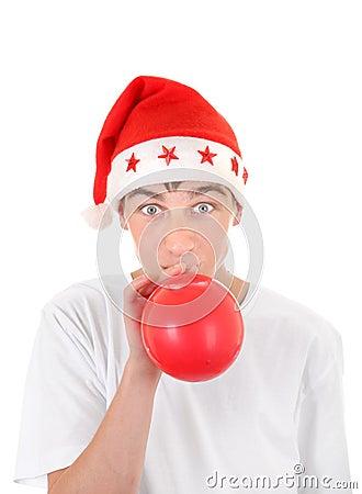 Teenager in Santas Hat