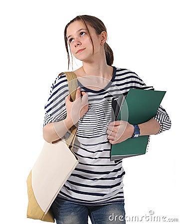 Teenager schoolgirl with textbooks