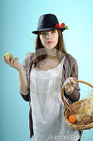 Teenager showing easter basket