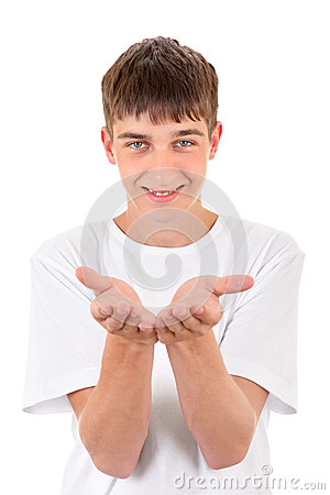 Teenager shows his Palms