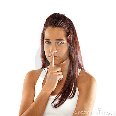 Teenager with silence sign
