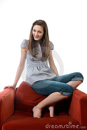 Teenager on a sofa