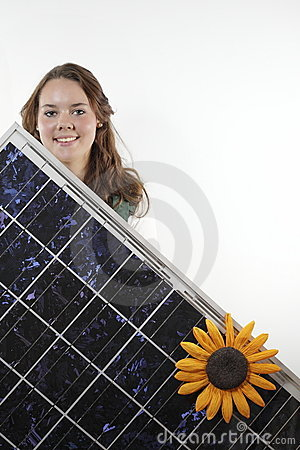 Teenager with solar panel