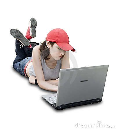 Free Teenager/Student With Laptop Stock Image - 1083901