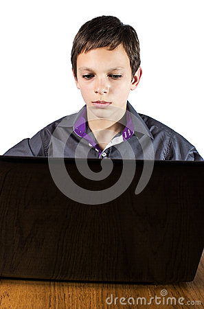 Teenager surfing the net