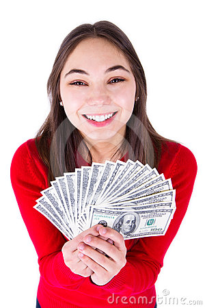 Teenager Thrilled With Money