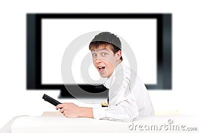 Teenager and tv-set