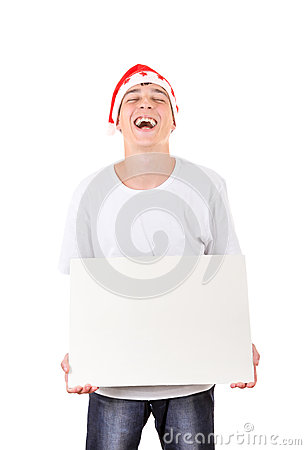 Teenager with White Board Laughing
