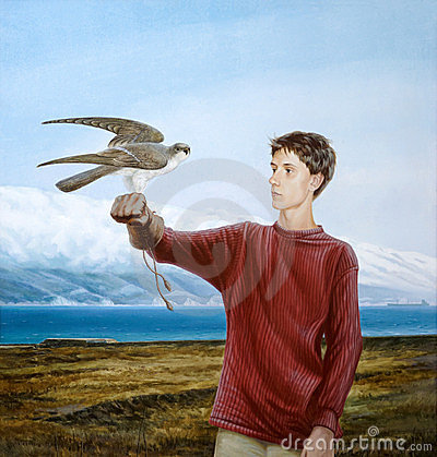 Free Teenager With A Falcon Stock Photo - 24182490