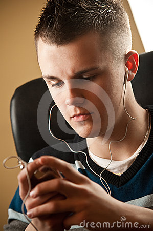 Free Teenager With Earphones Stock Photography - 24372762