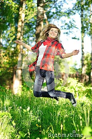 Teenager woman jumpin