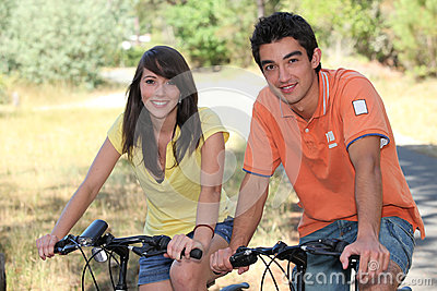 Teenagers on a bike ride