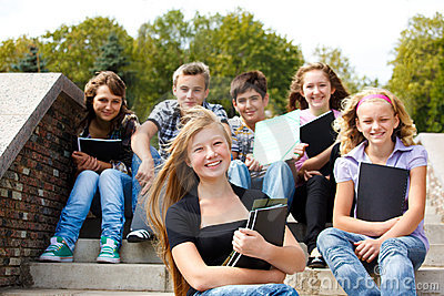 Teenagers with books