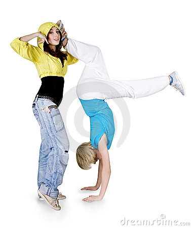 Teenagers dancing hip-hop over white background