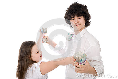 Teenagers divide money