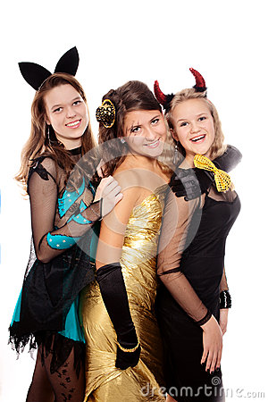 Teenagers dressed in costumes for Halloween