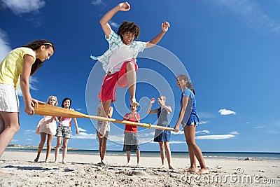 Teenagers having fun on beach