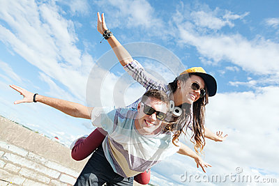 Teenagers having fun outside