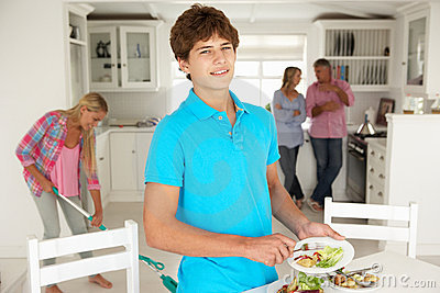 Teenagers helping with chores