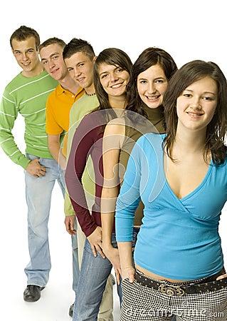 Teenagers in line