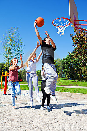 Free Teenagers Playing Basketball Royalty Free Stock Image - 22130136