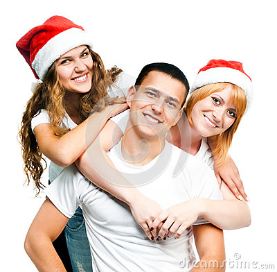 Teenagers  in Santa hat