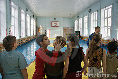 Teenagers at school in physical education Editorial Stock Photo