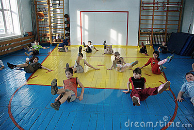 Teenagers at school in physical education Editorial Photo