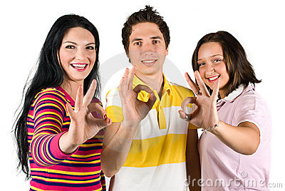 Teenagers showing  ok sign