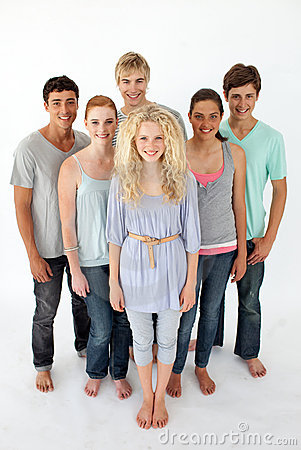 Teenagers standing in front of the camera