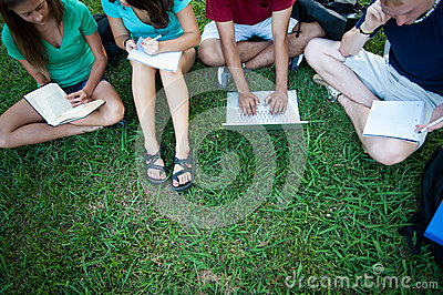 Teenagers studying outside