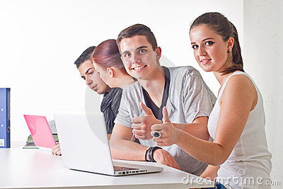Teenagers surfing the web