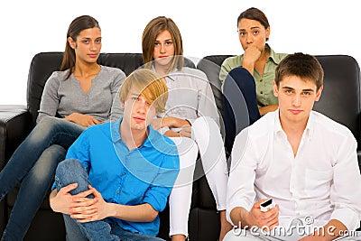 Teenagers watching tv