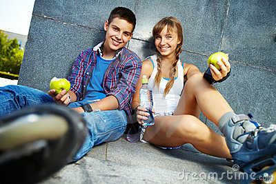 Teens with apples