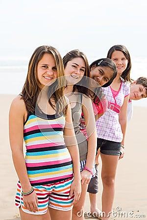 Teens on beach
