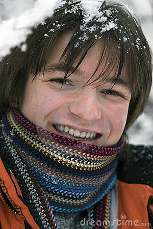 Free Teens Boy In Scarf Outdoors In Winter Royalty Free Stock Photography - 3896227