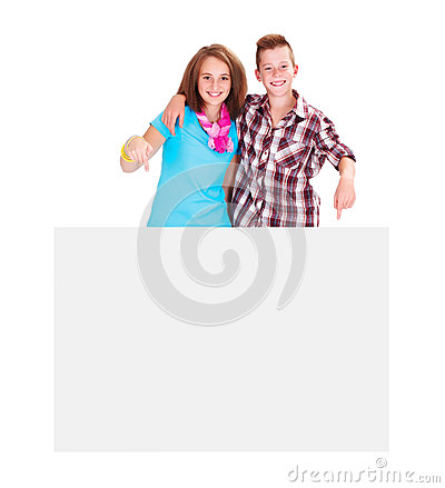 Teens with Copy Space Signboard