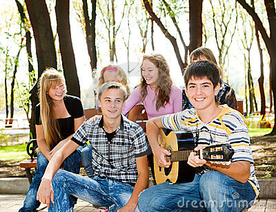 Teens crowd in park