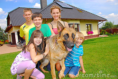 Teens with dog