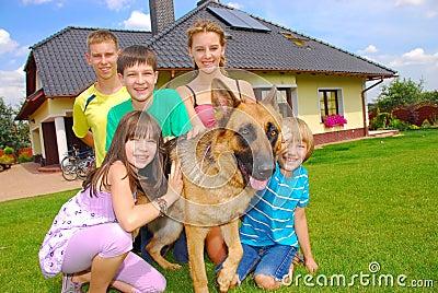 Teens with dog