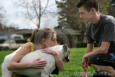 Teens with a dog
