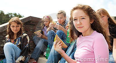 Teens eating