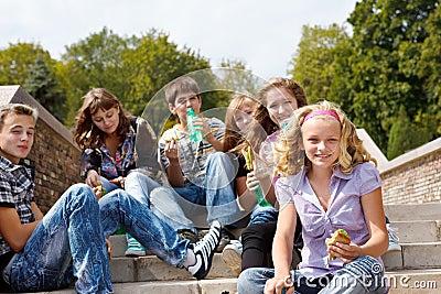 Teens eating