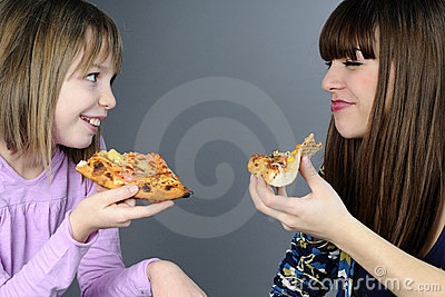 Teens eating and having fun