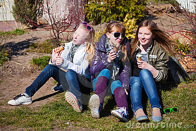 Teens eating an ice cream