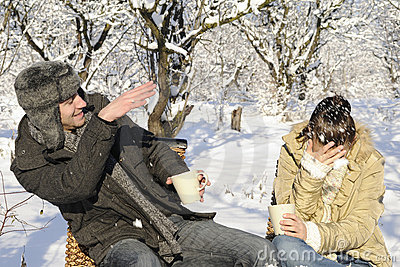 Teens fighting with snow