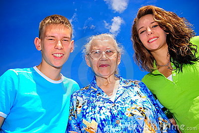 Teens with grandma