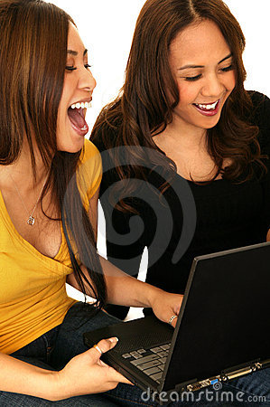 Teens Having Fun With Internet