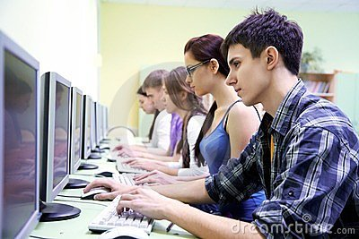 Teens in internet-cafe
