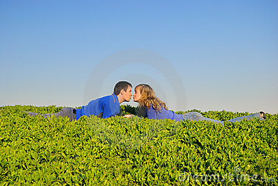 Teens kiss in a grass